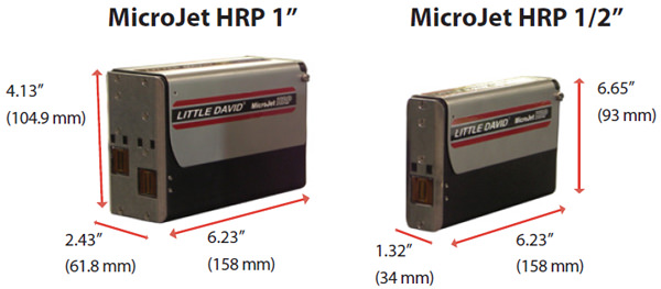 Dimensions for the Microjet HRP 1/2